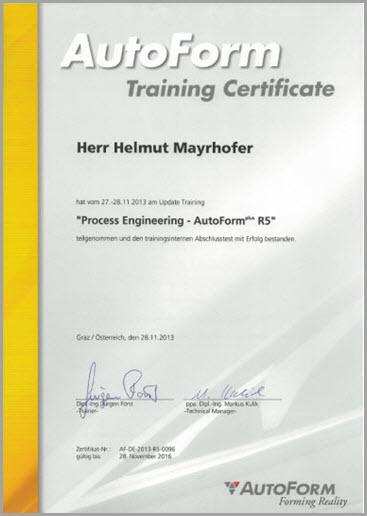 Helmut Mayrhofer - Autoform Zertifizierung - EBM