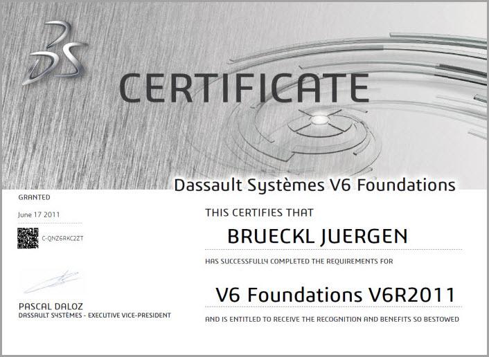 Jürgen Brückl - V6 Foundations V6R2011 Zertifizierung - EBM