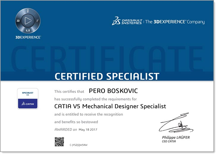 Pero Boskovic - CATIA V5 Mechanical Designer Specialist Zertifizierung - EBM