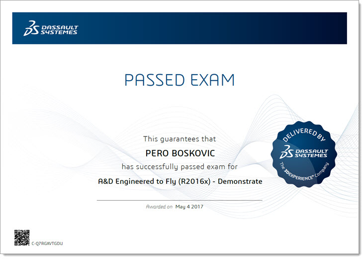 Pero Boskovic - Certified A&D Engineered to Fly (R2016x) Zertifizierung - EBM