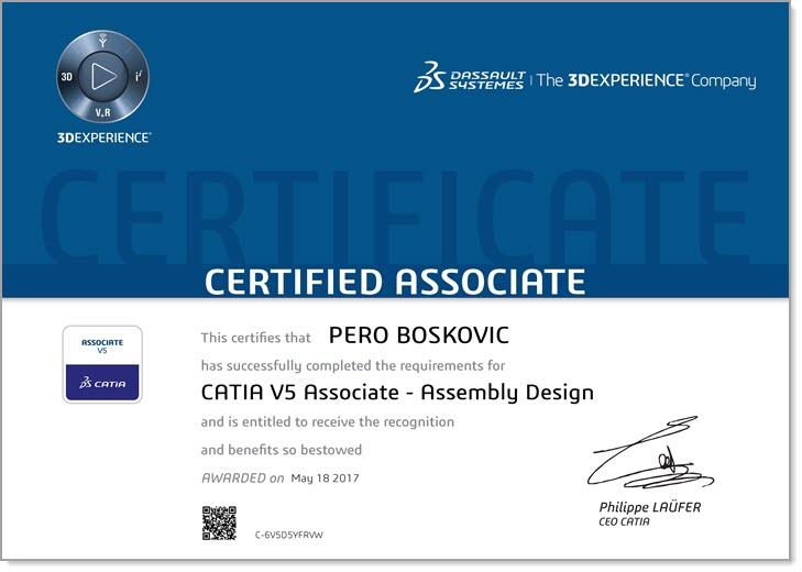 Pero Boskovic - Certified CATIA V5 Associate Zertifizierung - EBM