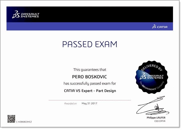 Pero Boskovic - Certified CATIA V5 Expert Zertifizierung - EBM