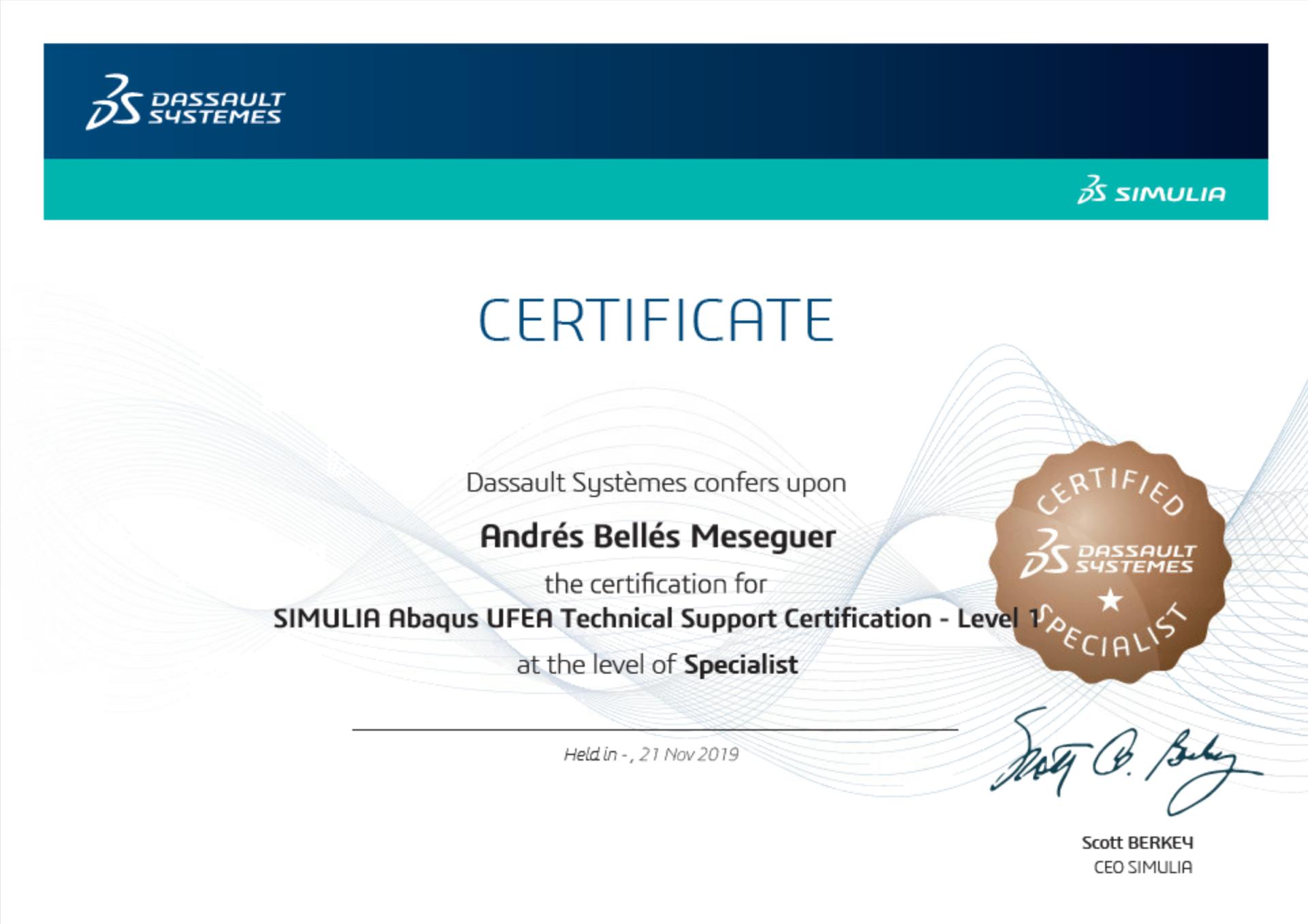 SIMULIA Abaqus Certificate Andres Belles Meseguer