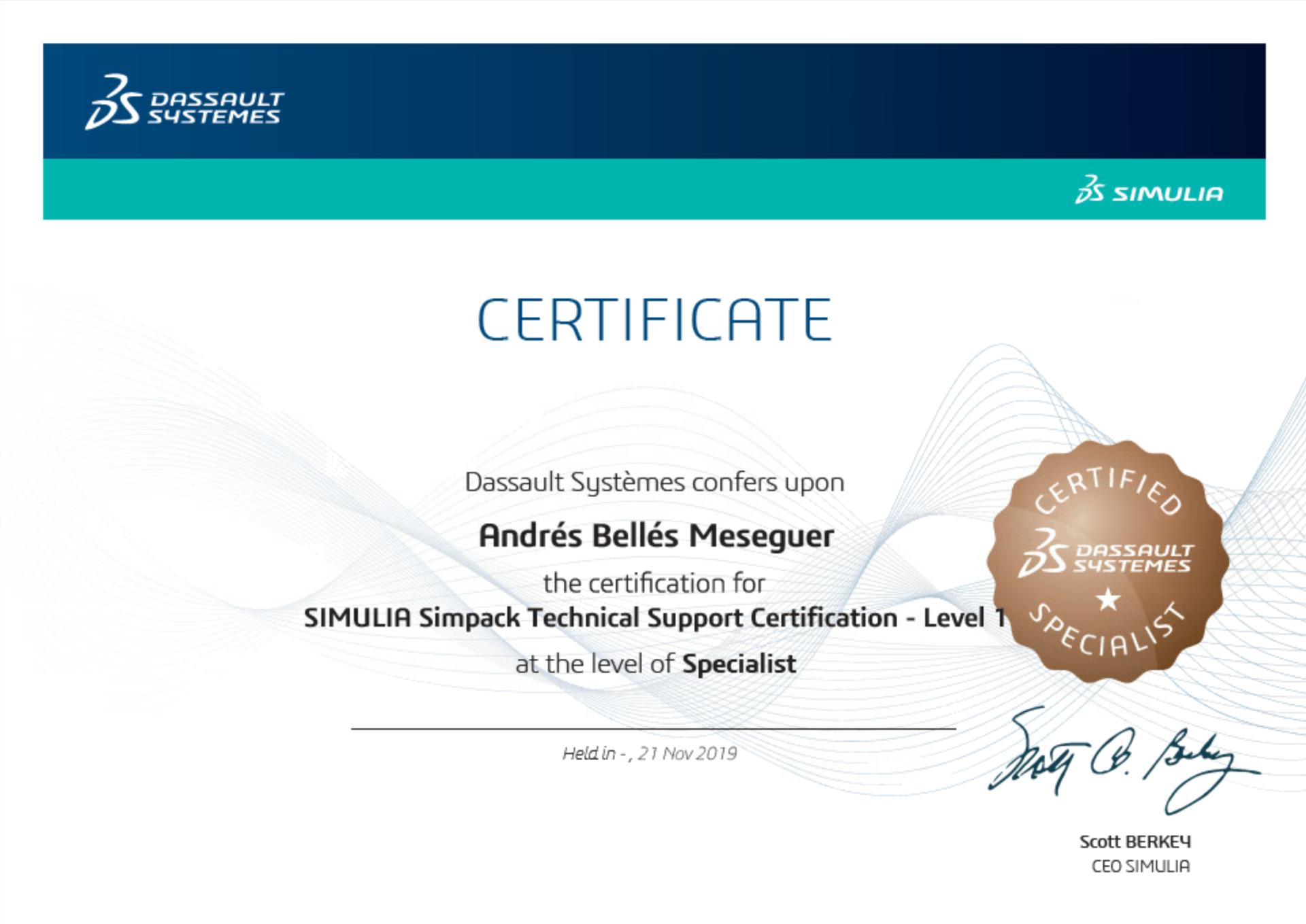 SIMULIA Simpack Certificate Andres Belles Meseguer